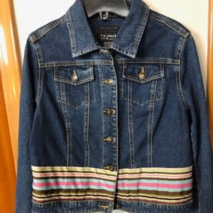 Crop Denim Jacket. One of a kind.  Ribbon accents